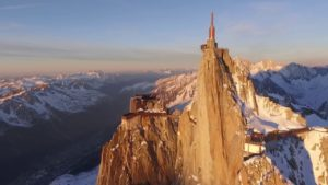 Aerial-Stock-Footage-Aiguille-du-Midi-360-Sunset-Orbit-dark-side