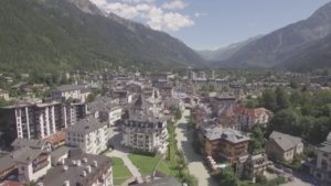 Aerial-Stock-Footage-Drifting-Slowly-Over-Chamonix-in-Summer